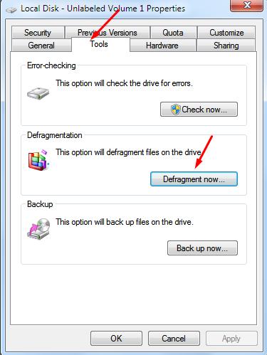 chọn ổ cứng nhấn properties chọn mục defragmmentnow