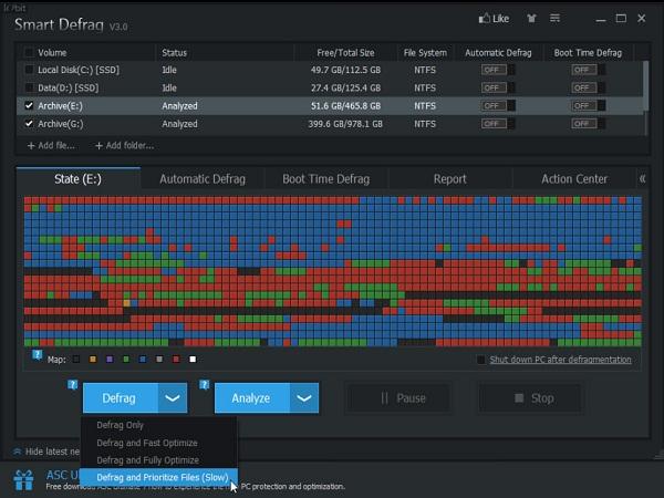 giao diện phần mềm Smart Defrag