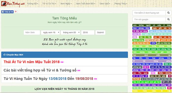 Website xem tử vi hành ngày