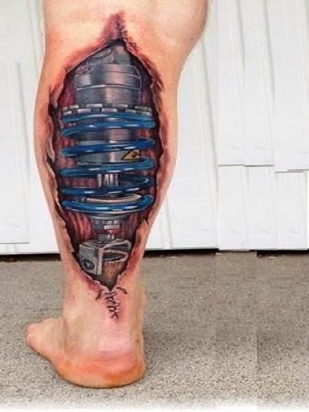 hình xăm 3D trên bắp chân