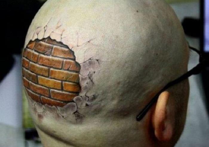 hình xăm kinh dị trên đầu