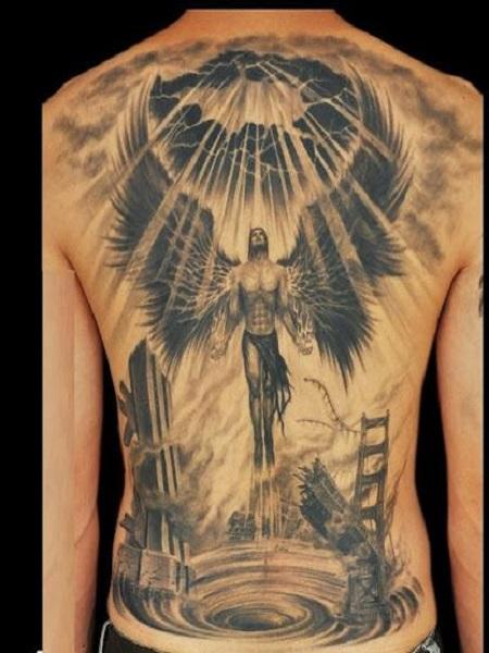 hình xăm thiên thần trên lưng