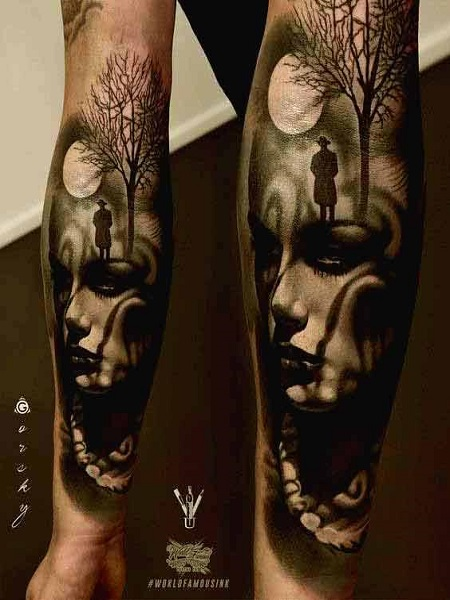 hình xăm bóng tối trên cánh tay