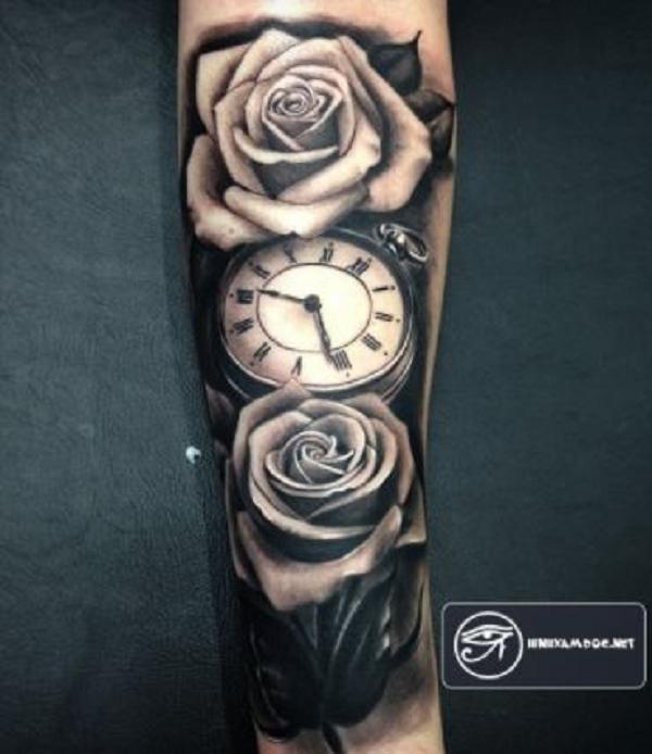 hình xăm hoa hồng trắng đen