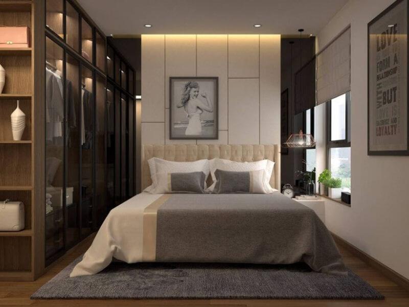 Sự kết hợp giữa gam màu sáng và tối khiến không gian phòng ngủ hiện đại, sang trọng hơn