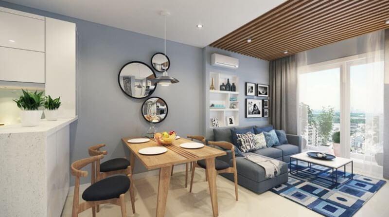 Phòng khách và phòng ăn nằm cùng một tầng