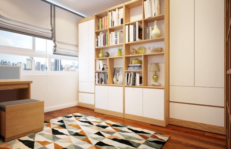 Tủ đựng quần áo kết hợp kệ đựng sách giúp không gian phòng ngủ của bạn gọn gàng và rộng rãi hơn